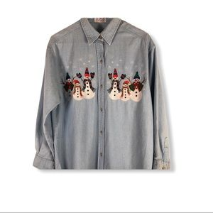 PBJ Sport Embroidered Snowman Shirt